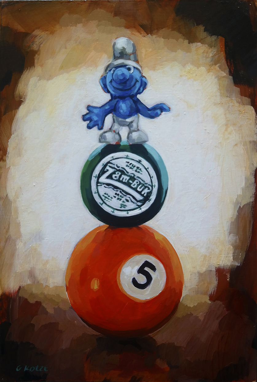 Balancing_Act__Pool_ball__Zam-Buk_and_Smurf_30_x_20cm_acrylic_on_canvas_net