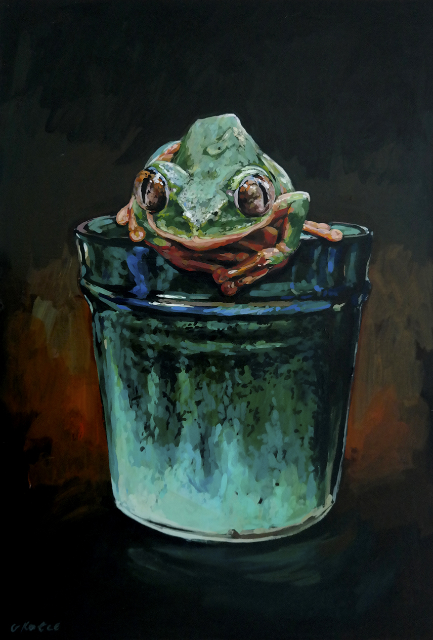 Grace_Kotze_A_Linnware_vase_and_the_sacred_frog_25_x_25_x_4cm_Acrylic_on_board_copy