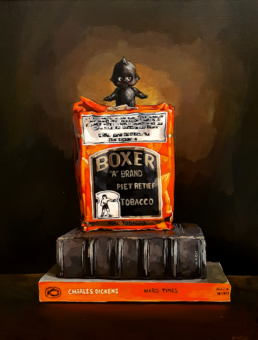 Grace_Kotze_Kewpie_dollantique_book_Hard_Times_and_boxer_tobacco_45_x_35_x_4cm_Acrylic_on_Board_net