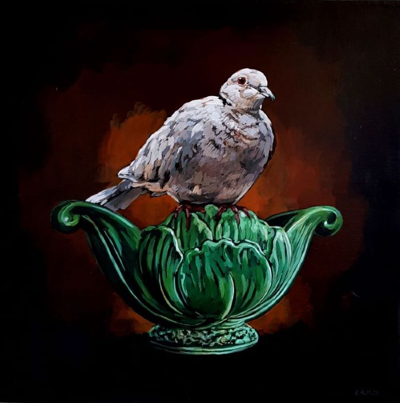 Grace_Kotze_Pause_the_dove_and_green_vase_50_x_50_x_4cm_Acrylic_on_board_copy