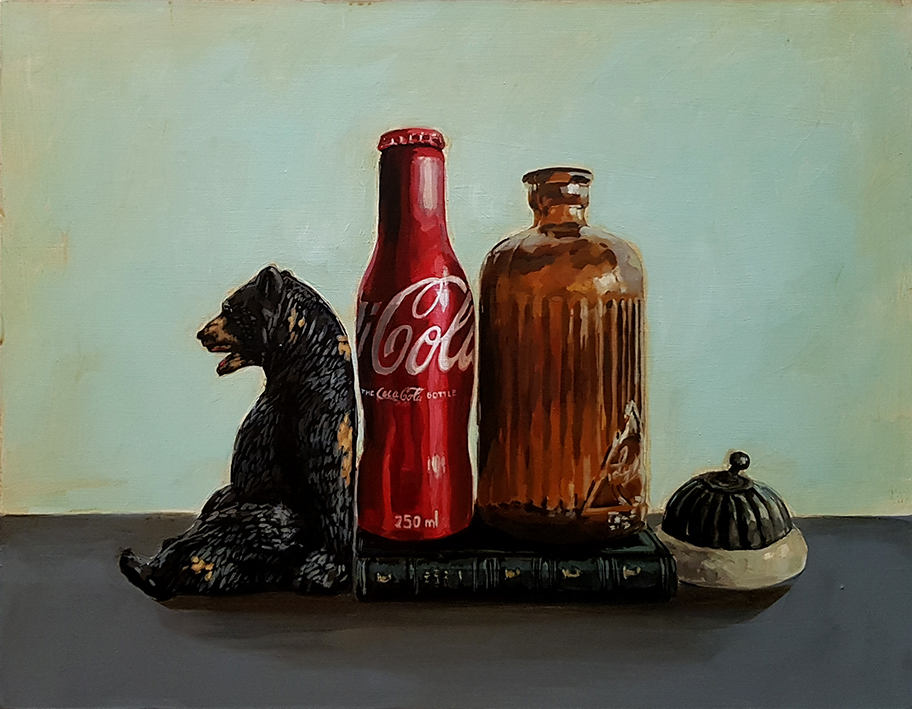 Grace_Kotze_The_black_bear_and_the_cola_bottle_35_x_45_x_4cm_Acrylic_on_Board_net
