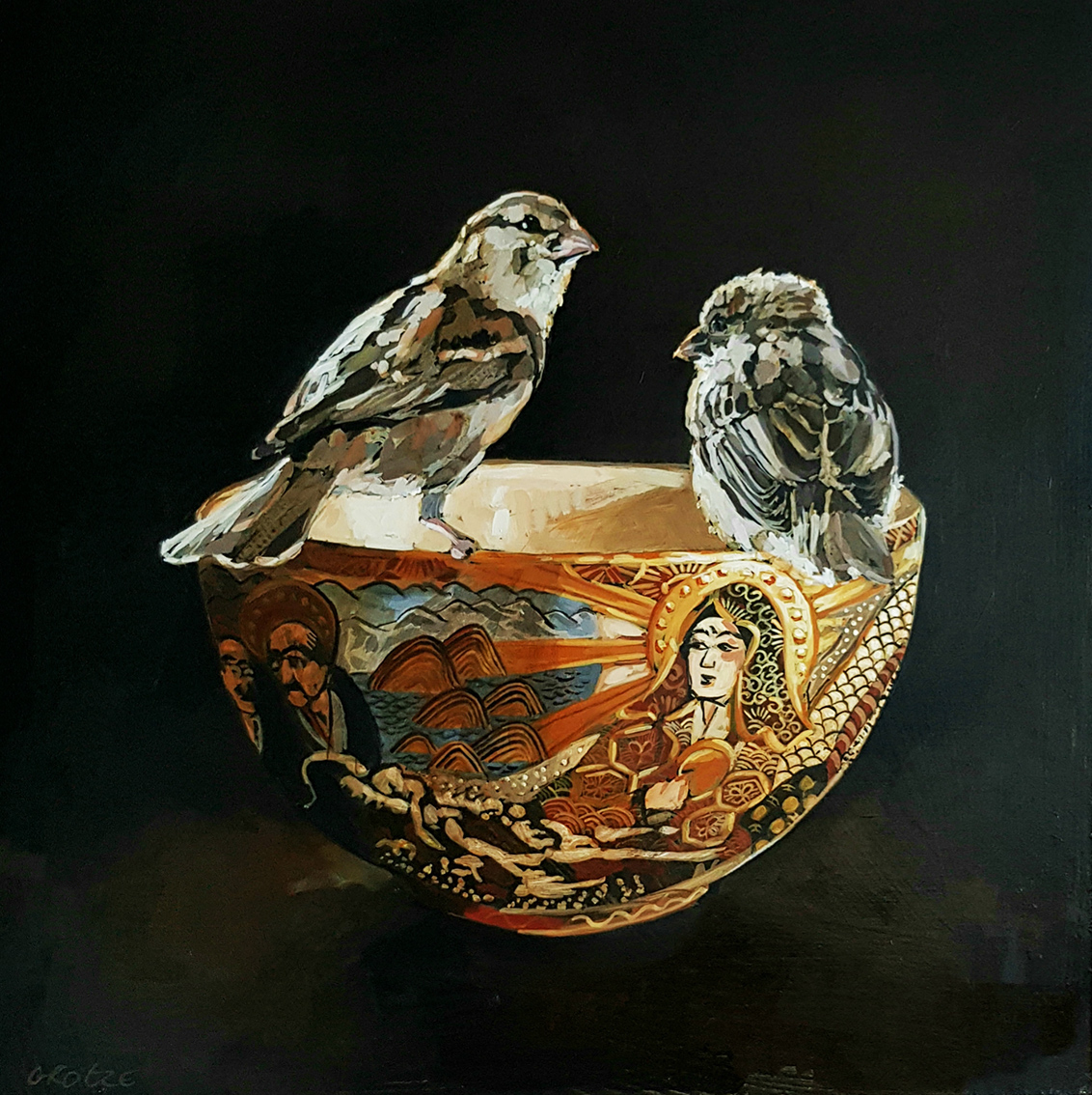 Grace_Kotze_The_two_sparrows_and_the_antique_Chinese_bowl_40_x_40_x_4cm_Acrylic_on_Board_net