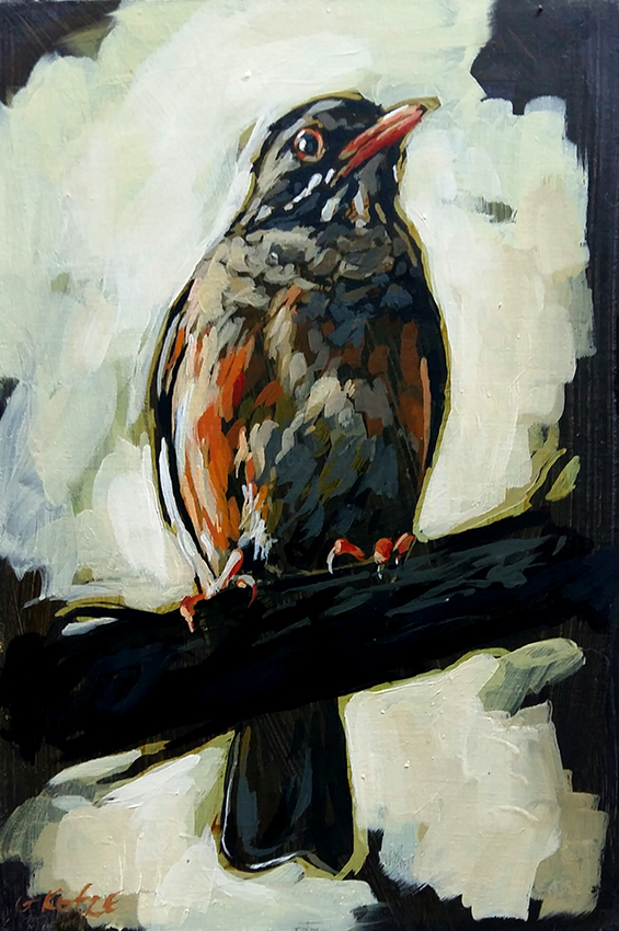 Olive_thrush_30_x_20_x_4cm_Acrylic_on_board