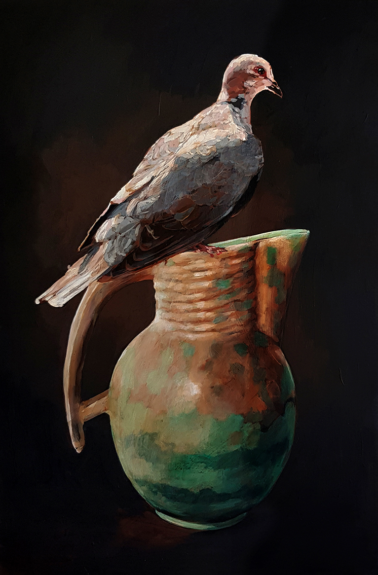 Pause_The_dove_and_the_vase_75_x_50_x_4cm_Acrylic_on_board_copy