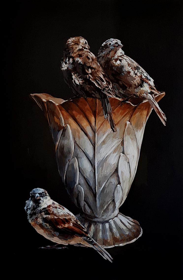Pause_The_three_sparrows_and_the_vase_75_x_50_x_4cm_Acrylic_on_board_net