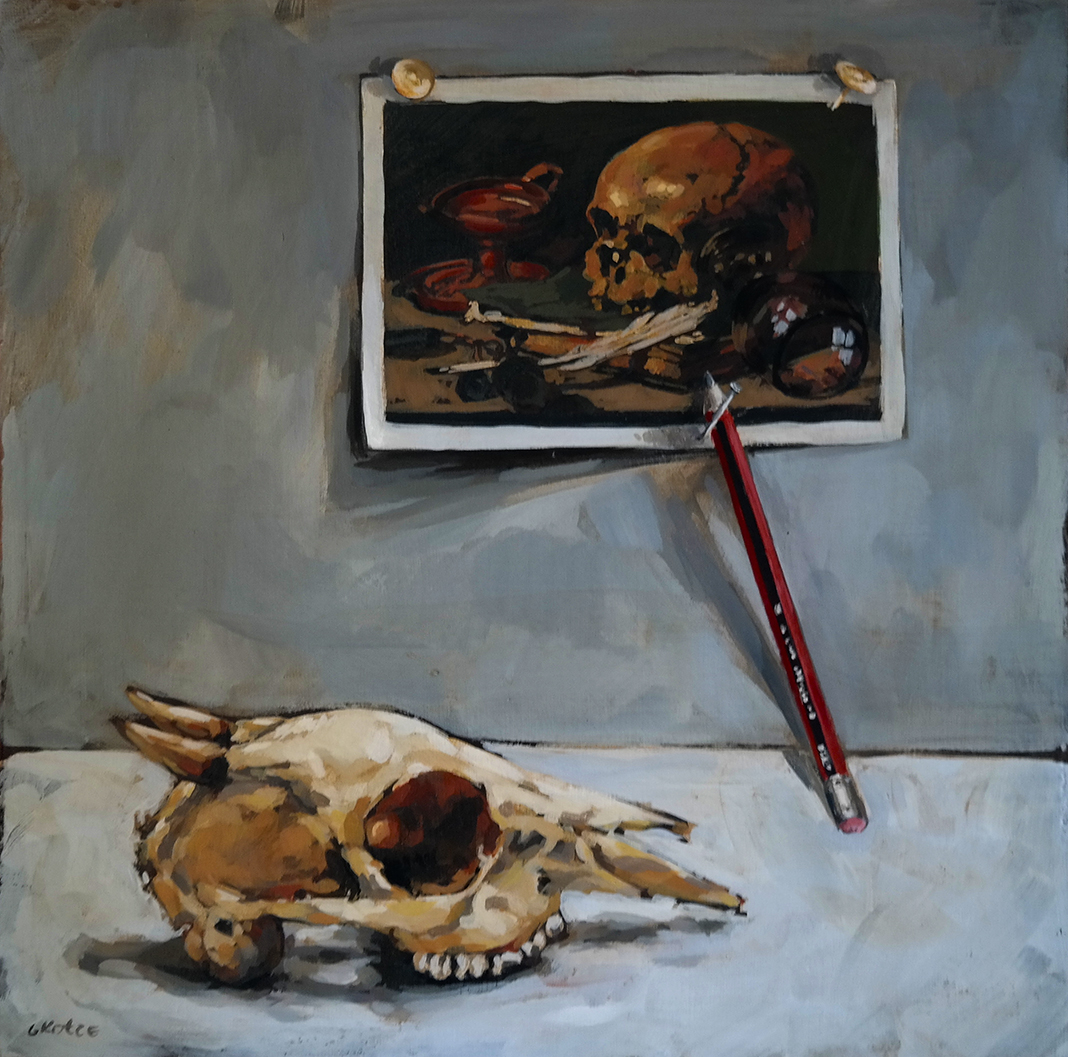 Tribute_to_Pieter_Claesz_Olive_Pencil_and_skull_30_x_30cm_acrylic_on_board_net