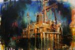 Harbour_Series_Ship_with_truck_30_x_45cm