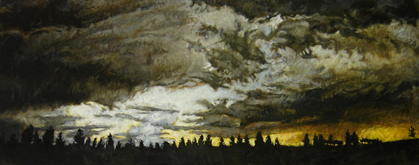 Fiery Sky, 80cm X2m, Oil on Canvas, 2008