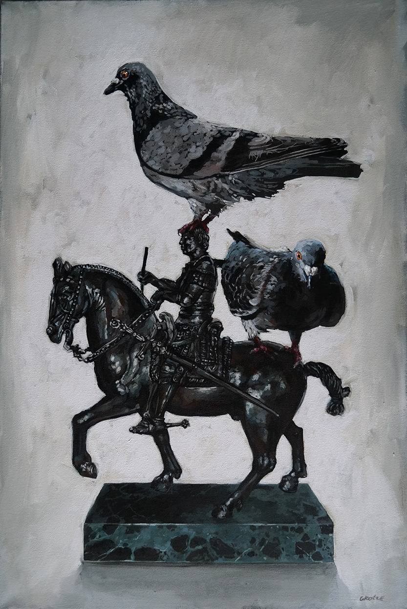 Grace_Kotze_A_Tribute_to_Donatello_with_pigeons_75_x_50cm_acrylic_on_canvas_net