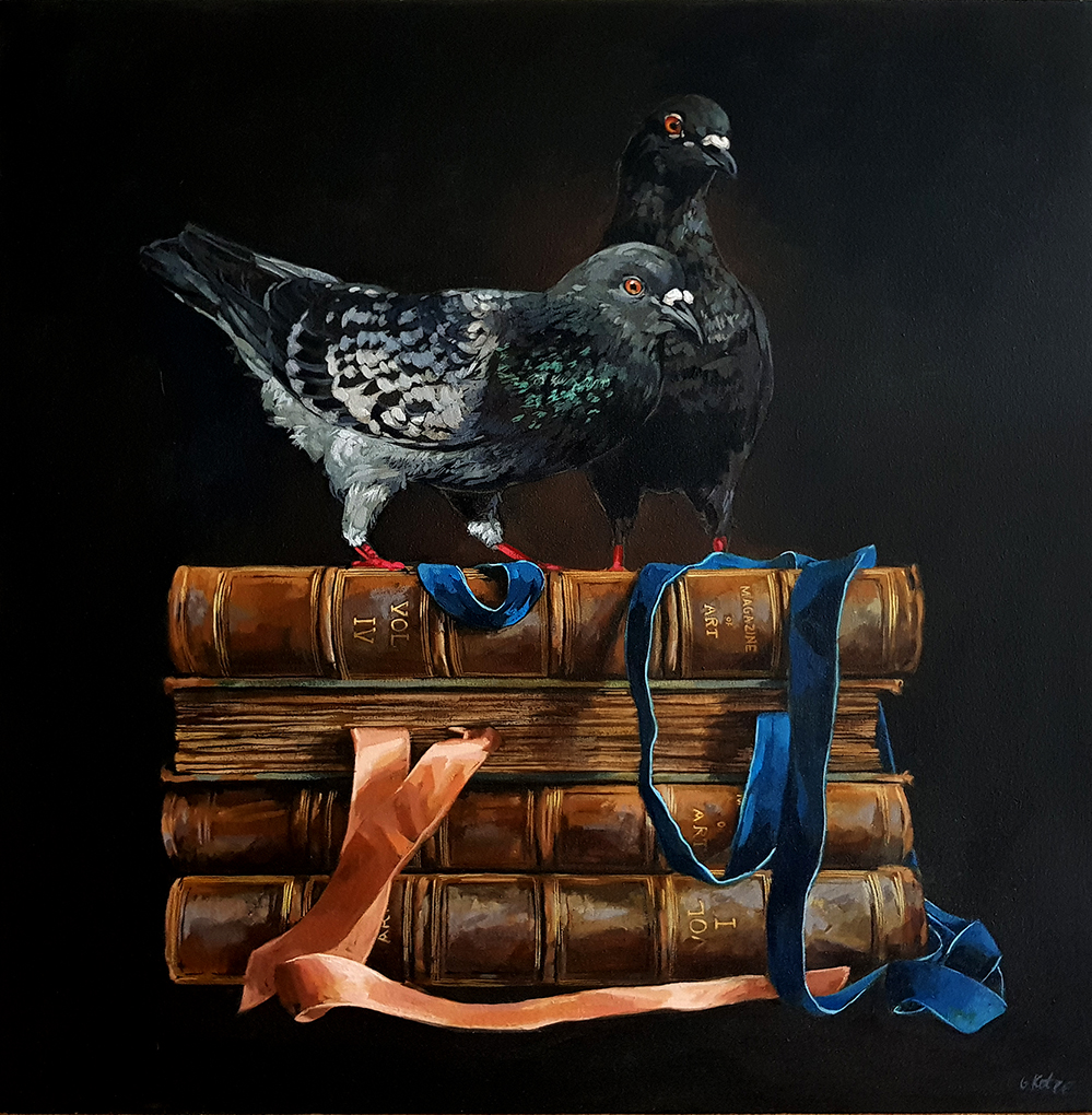 Grace_Kotze_The_Pigeon_and_the_Antique_books_80_x_80_x_4cm_Acrylic_on_Canvas_2017_net