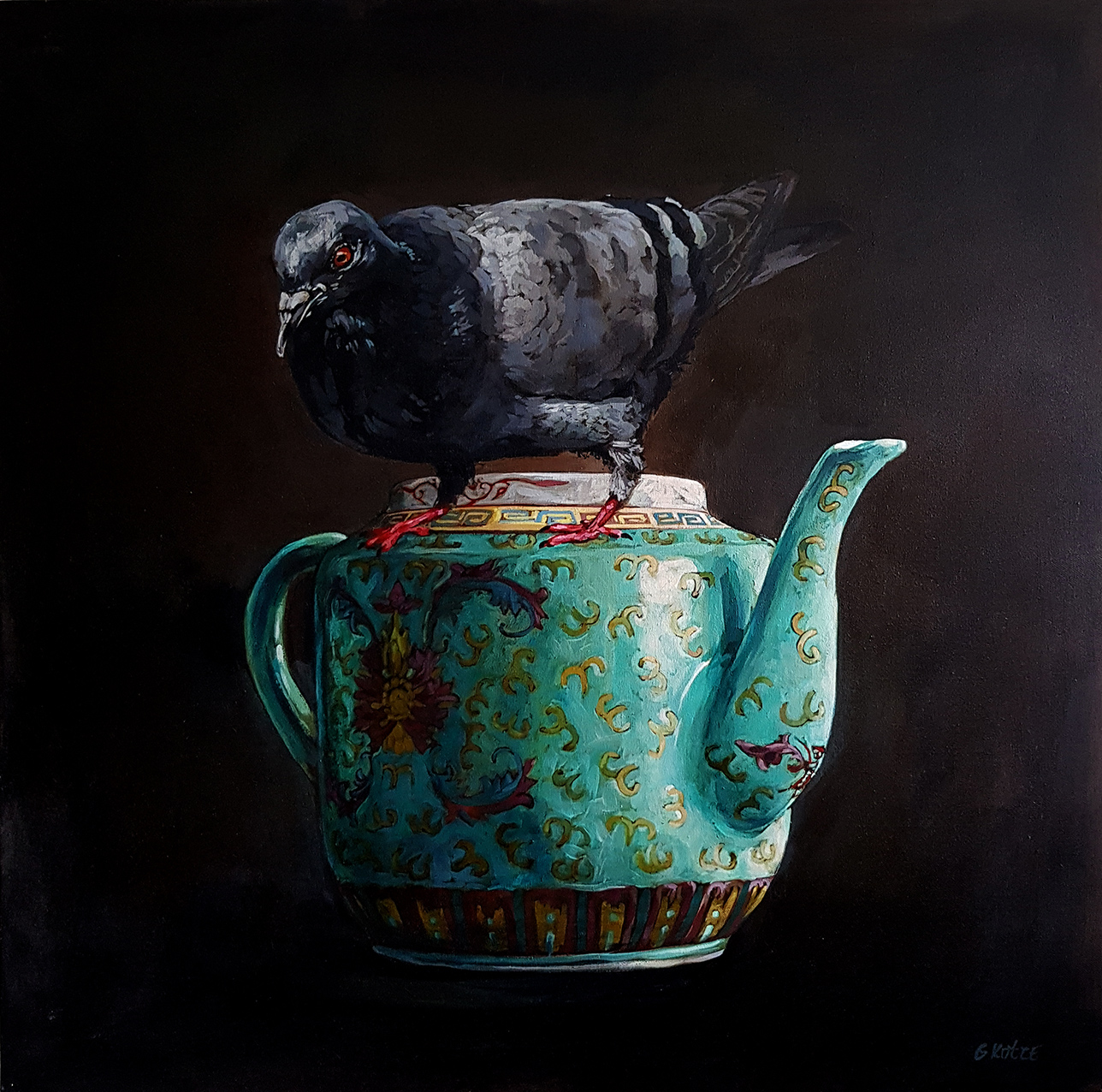 Grace_Kotze_The_Pigeon_and_the_Chinese_Tea_pot_80_x_80_x_4cm_Acrylic_on_Canvas_2017_net