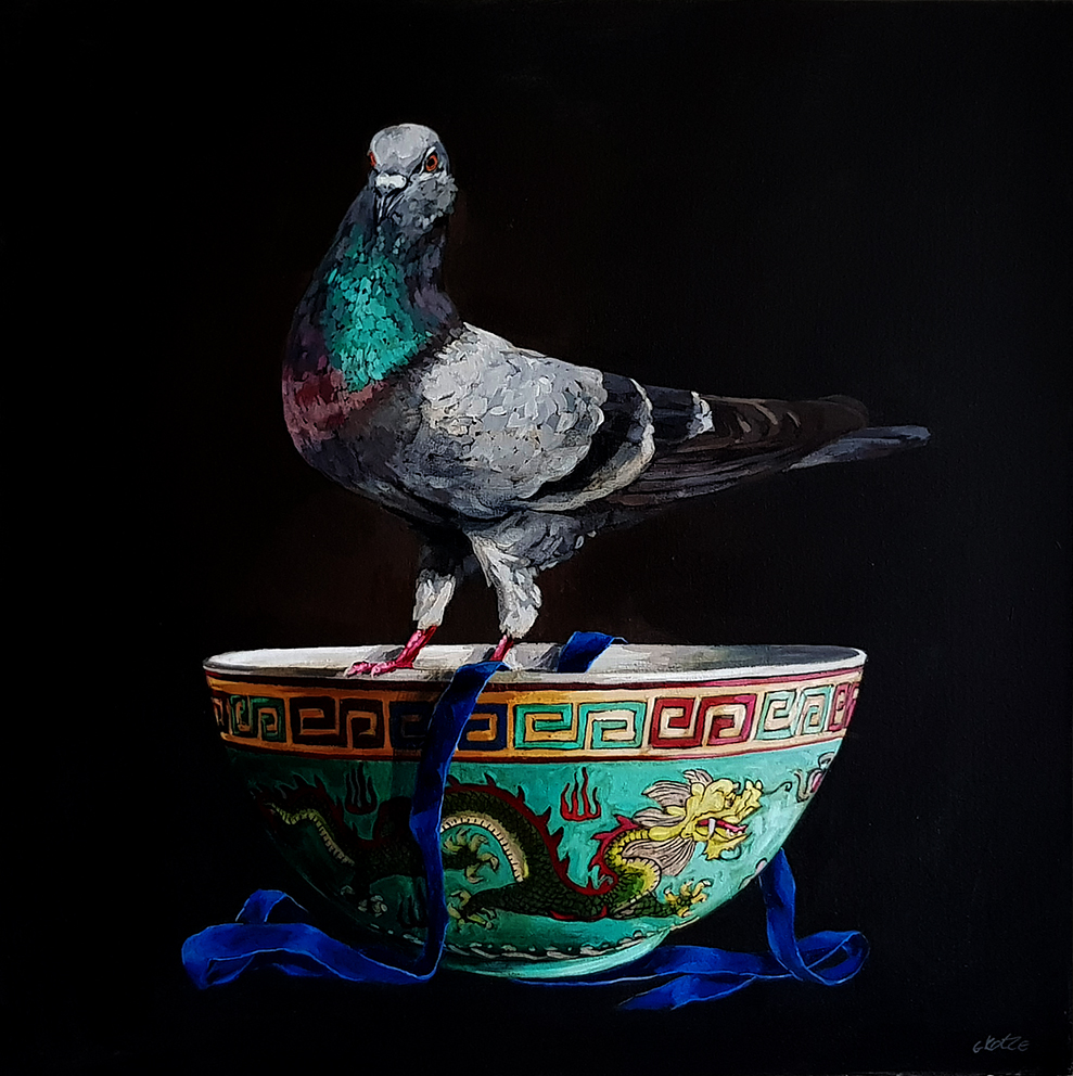 Grace_Kotze_The_Pigeon_and_the_Chinese_dragon_bowl_80_x_80_x_4cm_Acrylic_on_Canvas_2017_net