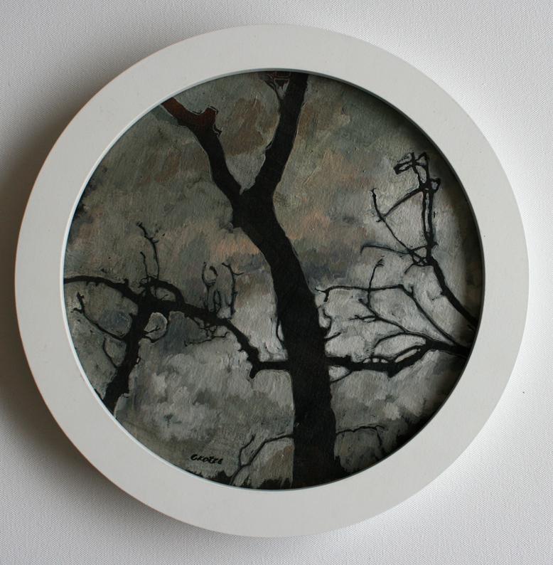 Spindle_tree_study_1_33cm_circular_framed_Oil_on_canvas_mounted_on_board