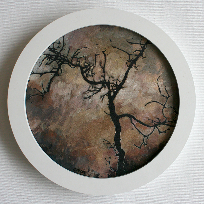 Spindle_tree_study_2_33cm_circular_framed_Oil_on_canvas_mounted_on_board