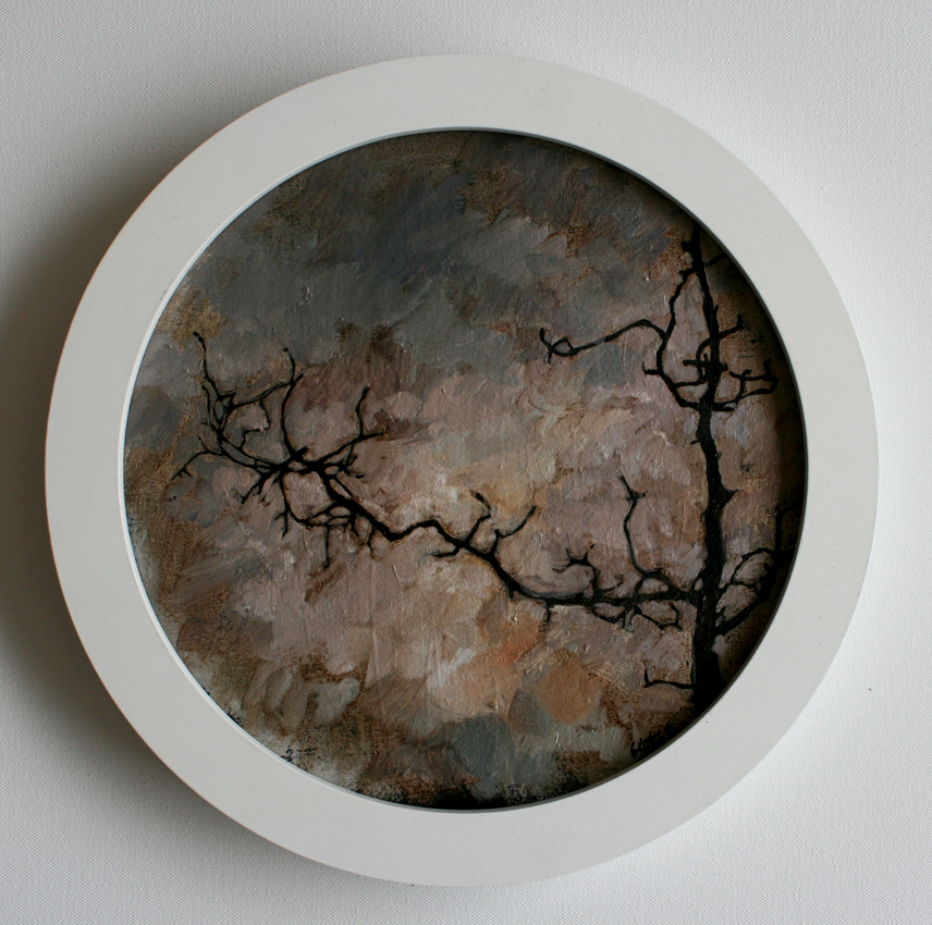 Spindle_tree_study_3_33cm_circular_framed_Oil_on_canvas_mounted_on_board