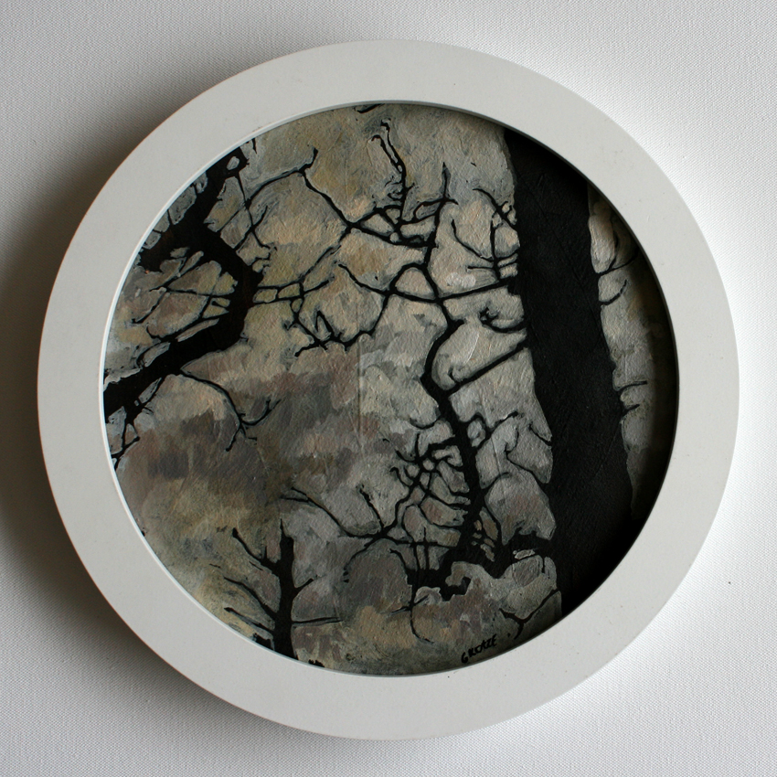 Spindle_tree_study_4_33cm_circular_framed_Oil_on_canvas_mounted_on_board
